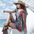 【SARBIS】泡湯SPA大女二件式連身裙泳裝附泳帽B92646