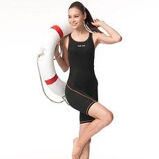 【SAIN SOU】競賽型連身七分褲泳裝加贈矽膠泳帽A97301
