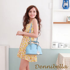 Dennibella 丹妮貝拉 -真皮斜背貝殼包-藍