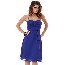 【摩達客】美國進口Landmark平口修身皇家藍色晚宴短禮服浪漫甜美派對雪紡洋裝(含禮盒/附絲巾)XL