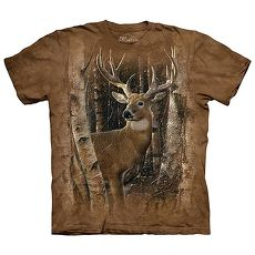 【摩達客】(預購)美國進口The Mountain 樺木與鹿 純棉環保短袖T恤