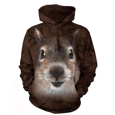 【摩達客】(預購)美國進口The Mountain 松鼠臉 長袖連帽T恤
