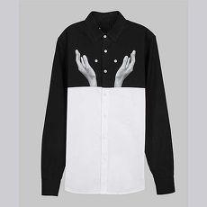 【摩達客】韓國進口EXO合作設計品牌DBSW Button Juggler扣子戲法黑白時尚純棉男士修身長袖襯衫