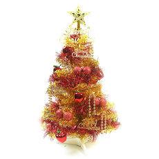 【摩達客】(預購3~5天出貨)台灣製繽紛2呎(60cm)金色金箔聖誕樹+裝飾組(紅蘋果純金色系)