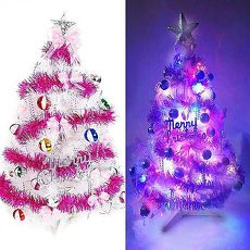 【摩達客】(預購3~5天出貨)台灣製3尺(90cm)特級白色松針葉聖誕樹 (繽紛馬卡龍粉紫色系)+100燈LED燈串(附控制器跳機)