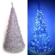 【摩達客】6尺/6呎(180cm) 創意彈簧摺疊聖誕樹 (銀色系)+LED100燈串一條 (9光色可選)LED燈串-紅光