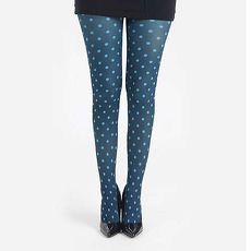 【摩達客】英國進口義大利製【Pamela Mann】藍綠小圓點彈性褲襪