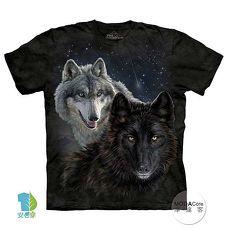 【摩達客】(預購)美國進口The Mountain 星光雙狼 純棉環保短袖T恤(男/女童)