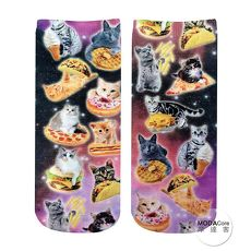 【摩達客】美國進口Living Royal貪吃貓咪們 短襪腳踝襪彈性襪動物圖案襪