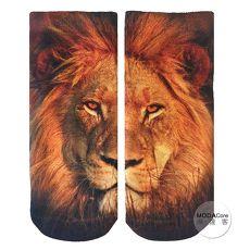 【摩達客】美國進口Living Royal獅子臉 短襪腳踝襪彈性襪動物圖案襪