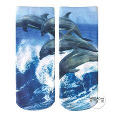 【摩達客】美國進口Living Royal海豚群 短襪腳踝襪彈性襪動物圖案襪