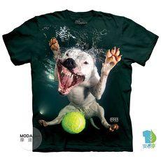 【摩達客】美國進口The Mountain 水中鬥牛比特犬混血  純棉環保短袖T恤-狗L