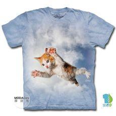【摩達客】美國進口The Mountain 藍天飛撲小貓 純棉環保短袖T恤-貓