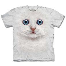 【摩達客】美國進口The Mountain 雪白小貓  純棉環保短袖T恤(預購)(男/女童)