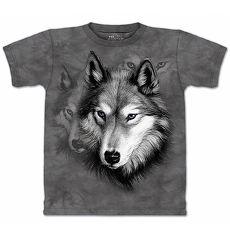【摩達客】美國進口The Mountain 野狼像灰黑設計  純棉環保短袖T恤(預購)(男/女童)兒童/少年XL (約台版S