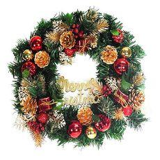 【摩達客】(預購3~5天出貨)14吋豪華高級綠色聖誕花圈(紅金色系)(台灣手工組裝)