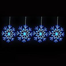 【摩達客】(預購3~5天出貨)聖誕燈裝飾燈LED燈四雪花片造型燈(192燈/藍白光)(附控制器跳機)