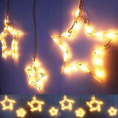 【摩達客】(預購3~5天出貨)LED燈100燈大小星星冰條燈聖誕燈(暖白光)(附控制器) (高亮度環保)