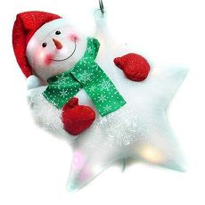 【摩達客】(預購3~5天出貨)聖誕LED燈25燈雪人抱星星造型燈吊飾SCL-49(插電式-自動閃爍變換光色)