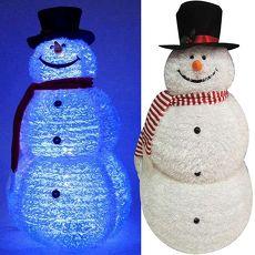 【摩達客】(預購3~5天出貨)中型(105CM)白色彈簧摺疊雪人玩偶擺飾 (100燈LED燈藍白光插電式)