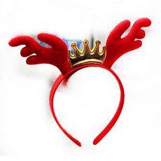 【摩達客】(預購3~5天出貨)聖誕派對-紅金皇冠鹿角髮箍頭飾