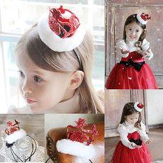 【摩達客】(預購3~5天出貨)聖誕派對-小公主毛絨小紅皇冠髮箍