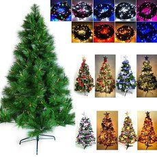 【摩達客】(預購3~5天出貨)台灣製12呎/12尺(360cm)特級綠松針葉聖誕樹 (含飾品組+100燈LED燈7串-附控制器跳機)紅光+金紫色 配件
