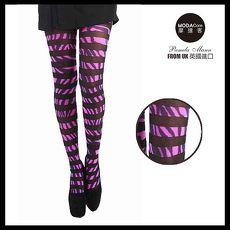 【摩達客】英國進口義大利製Pamela Mann 粉紅斑馬個性設計彈性褲襪絲襪