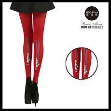 【摩達客】英國進口義大利製Pamela Mann貓抓牆降落圖紋紅色彈性褲襪