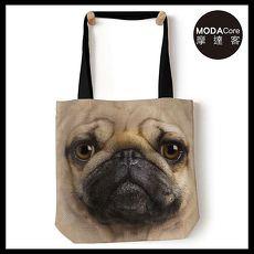 【摩達客】(預購) 美國The Mountain 巴哥犬臉 藝術環保托特包