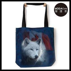 【摩達客】(預購) 美國The Mountain 加拿大白狼 藝術環保托特包