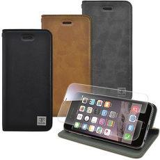 【Metal-slim】Apple iPhone 6s/6 plus(5.5)瘋馬紋圓孔設計站立皮套+9H玻璃鋼化保護貼棕