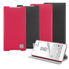 【Metal-slim】SONY Xperia Z5 超薄PC內層磁吸側翻站立皮套紅