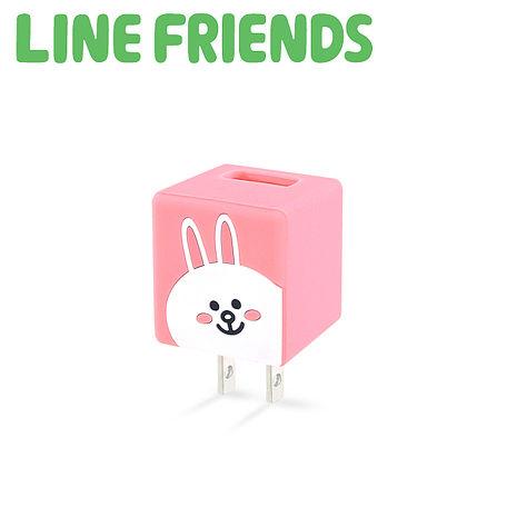 LINE FRIENDS 立體 QQ 1A 輕巧USB充電器-甜美兔兔 (LN-CR04C)