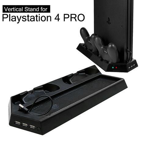 『加購』PS4 PRO主機專用直立架含雙手把坐充及散熱風扇KJHPS4PRO-03