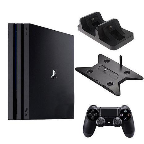 PS4 Pro 7218 1TB-主機黑+第二手-黑ZCT2G +slim/pro主機雙用直立架-黑KJH-ps4slim-pro+DOBE手把充電座