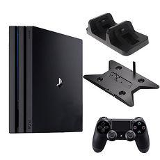 SONY PS4 Pro 7218 1TB-主機黑+slim/pro主機雙用直立架-黑KJH-ps4slim-pro+DOBE手把充電座