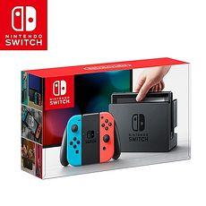 任天堂 Nintendo Switch主機組合-電光藍&電光紅(台灣公司貨) 加贈玻璃保貼+防塵豪華組