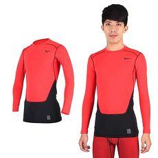 【NIKE】PRO COMBAT男長袖緊身衣-保暖 慢跑 健身 重訓 T恤 橘紅黑