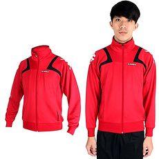 【KAPPA】男針織外套-立領 休閒外套 紅黑白XL