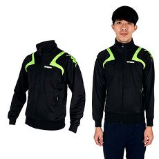 【KAPPA】男針織外套-立領 休閒外套 黑綠白XL