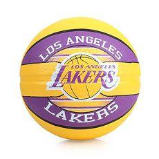 【SPALDING】湖人 LAKERS  籃球-戶外 NBA 隊徽球 斯伯丁 紫黃F