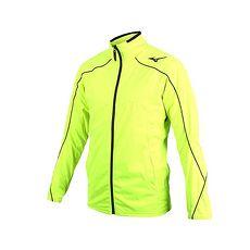 【MIZUNO】男平織運動外套-立領外套 慢跑 路跑 美津濃 螢光黃黑