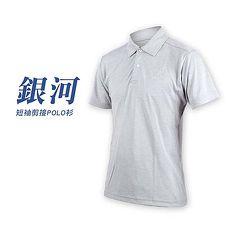 【HODARLA】男銀河短袖剪接POLO衫-台灣製 高爾夫 短袖上衣 麻花灰XL
