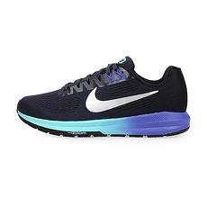 【NIKE】W AIR ZOOM STRUCTURE 21 女支撐慢跑鞋-路跑 黑銀藍24