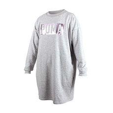 【PUMA】FUSION女長袖連身裙-長版T恤 灰玫瑰金L