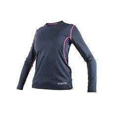 【FIRESTAR】女機能緊身長袖-T恤 長T 健身 瑜珈 深灰螢光粉