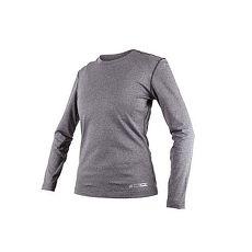 【FIRESTAR】女機能緊身圓領保暖-長袖緊身衣 刷毛 慢跑 路跑 台灣製 麻花灰