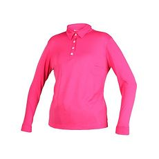 【WILDLAND】女疏水紗長POLO衫長袖上衣-慢跑 路跑 高爾夫 蜜桃紅M