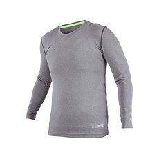 【FIRESTAR】男機能緊身長袖上衣-長T T恤 訓練 慢跑 路跑 麻灰